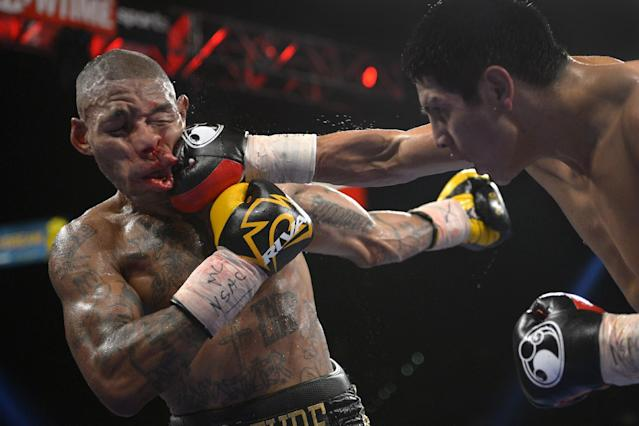 FILE - In this Sept. 14, 2013 file photo, Pablo Cesar Cano, right, lands a punch against Ashley Theophane in the eighth round during a welterweight fight in Las Vegas. The photo was part of a series of images by photographer Mark J. Terrill which won the Thomas V. diLustro best portfolio award for 2013 given out by the Associated Press Sports Editors during their annual winter meeting in Indianapolis. (AP Photo/Mark J. Terrill, File)