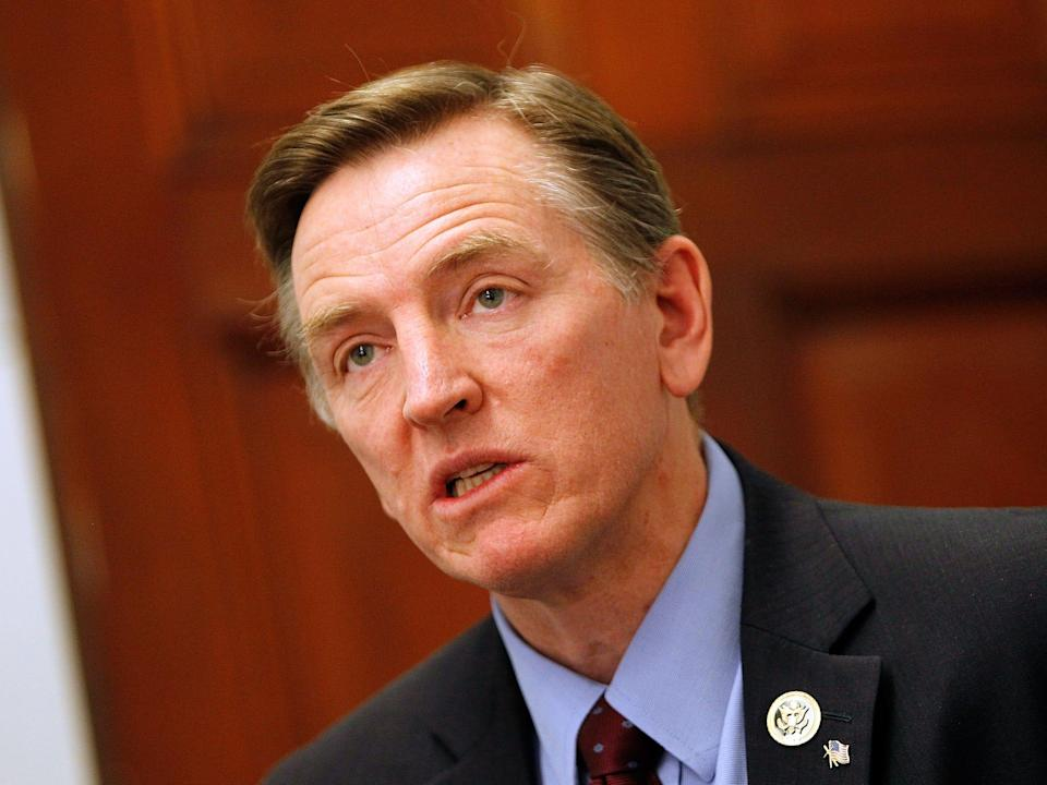 Rep. Paul Gosar speaks at a news conference.