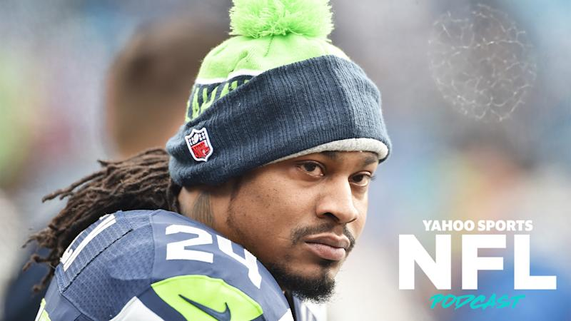 Former Seattle Seahawk running back Marshawn Lynch came out of retirement to sign with the team for their playoff run after a spate of injuries in their backfield. (Photo by Ronald C. Modra/Getty Images)