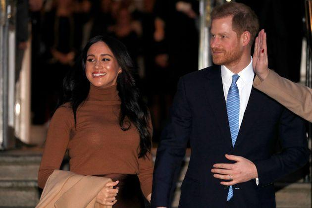 Meghan and Harry in January 2020 (Photo: ADRIAN DENNIS via Getty Images)