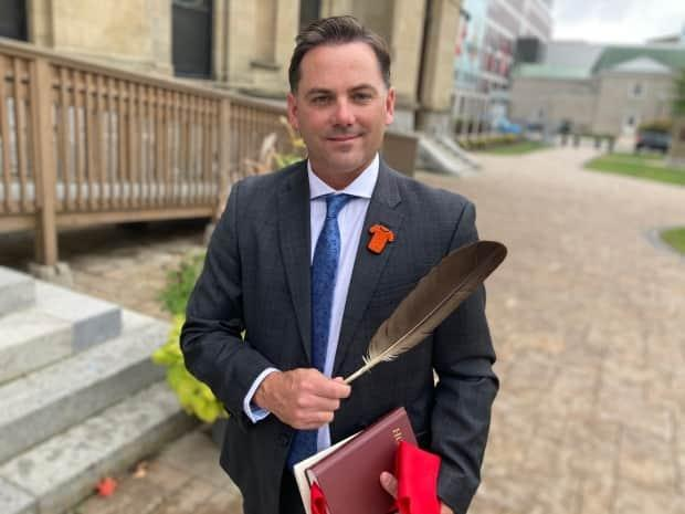 Jake Stewart announced Thursday he's running for the federal Conservative Party nomination for Miramichi-Grand Lake. (Jacques Poitras/CBC - image credit)