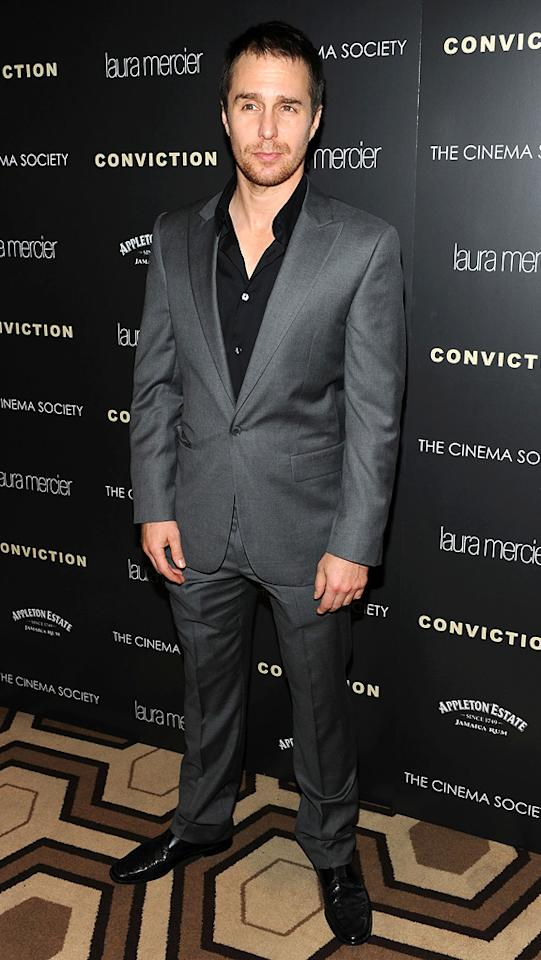 """<a href=""""http://movies.yahoo.com/movie/contributor/1800021961"""">Sam Rockwell</a> at the New York Cinema Society screening of <a href=""""http://movies.yahoo.com/movie/1810071450/info"""">Conviction</a> on October 12, 2010."""