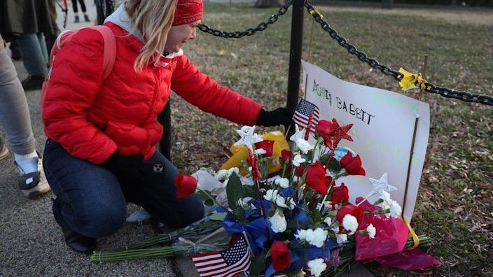 A memorial set up near the US Capitol Building for Ashli Babbitt who was killed in the building after a pro-Trump mob broke in on 7 January 2021