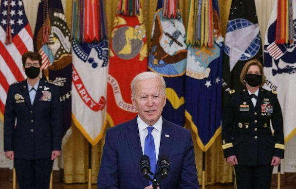 PHOTO: President Joe Biden speaks, flanked by the nominees to positions as 4-star Combatant Commanders General Jacqueline Van Ovost, left, and Lieutenant General Laura Richardson, right, at the White House in Washington on March 8, 2021. (Mandel Ngan/AFP via Getty Images)