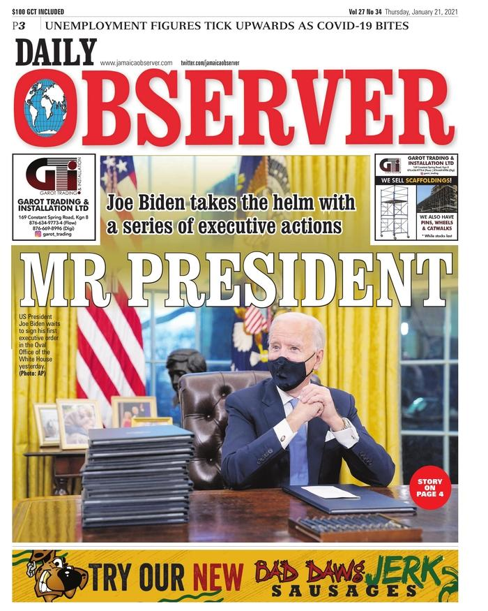 January 21, 2021 front page of the Daily Observer