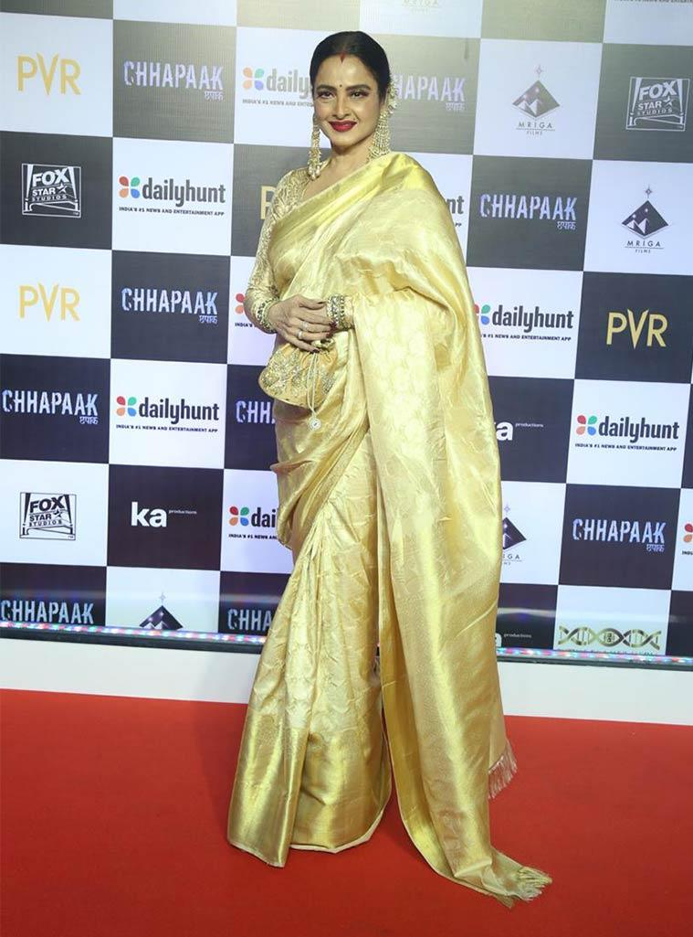 chhapaak screening, rekha, rekha deepika padukone, rekha at chhapaak screening, indian express, indian express news