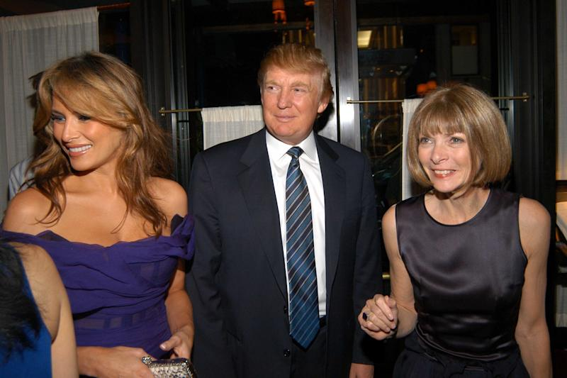 Melania and Donald Trump and Anna Wintour attend the launch party for Andre Leon Talley's Book  on June 7, 2005, in NYC. (Patrick McMullan via Getty Images)