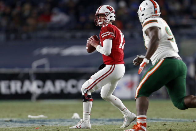Wisconsin quarterback Jack Coan looks for a receiver during the first half of the Pinstripe Bowl NCAA college football game against Miami on Thursday, Dec. 27, 2018, in New York. (AP Photo/Adam Hunger)