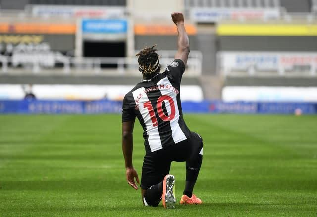 Allan Saint-Maximin celebrates after scoring Newcastle's opener against Sheffield United (Michael Regan/NMC Pool)
