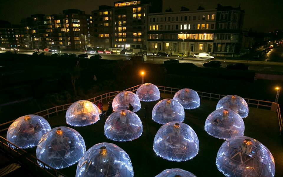 The futuristic looking Rockwater Igloo Village - Brighton Pictures