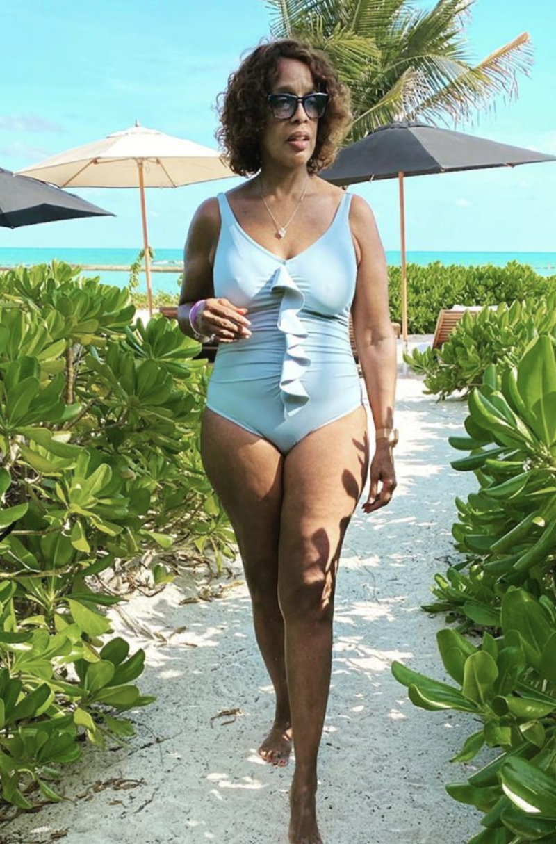 King also posed in a pale blue swimsuit. (Photo: Gayle King Instagram)