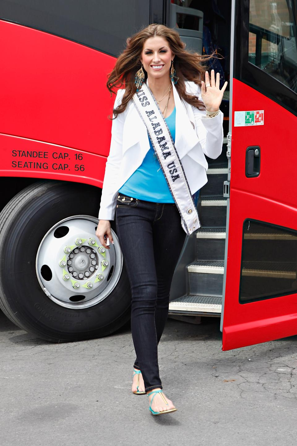 Miss Alabama USA Katherine Webb exits a sightseeing bus on May 8, 2012 in New York City. (Photo by Cindy Ord/Getty Images)