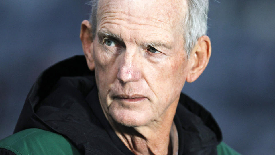 Wayne Bennett, pictured here before a South Sydney game in the NRL.