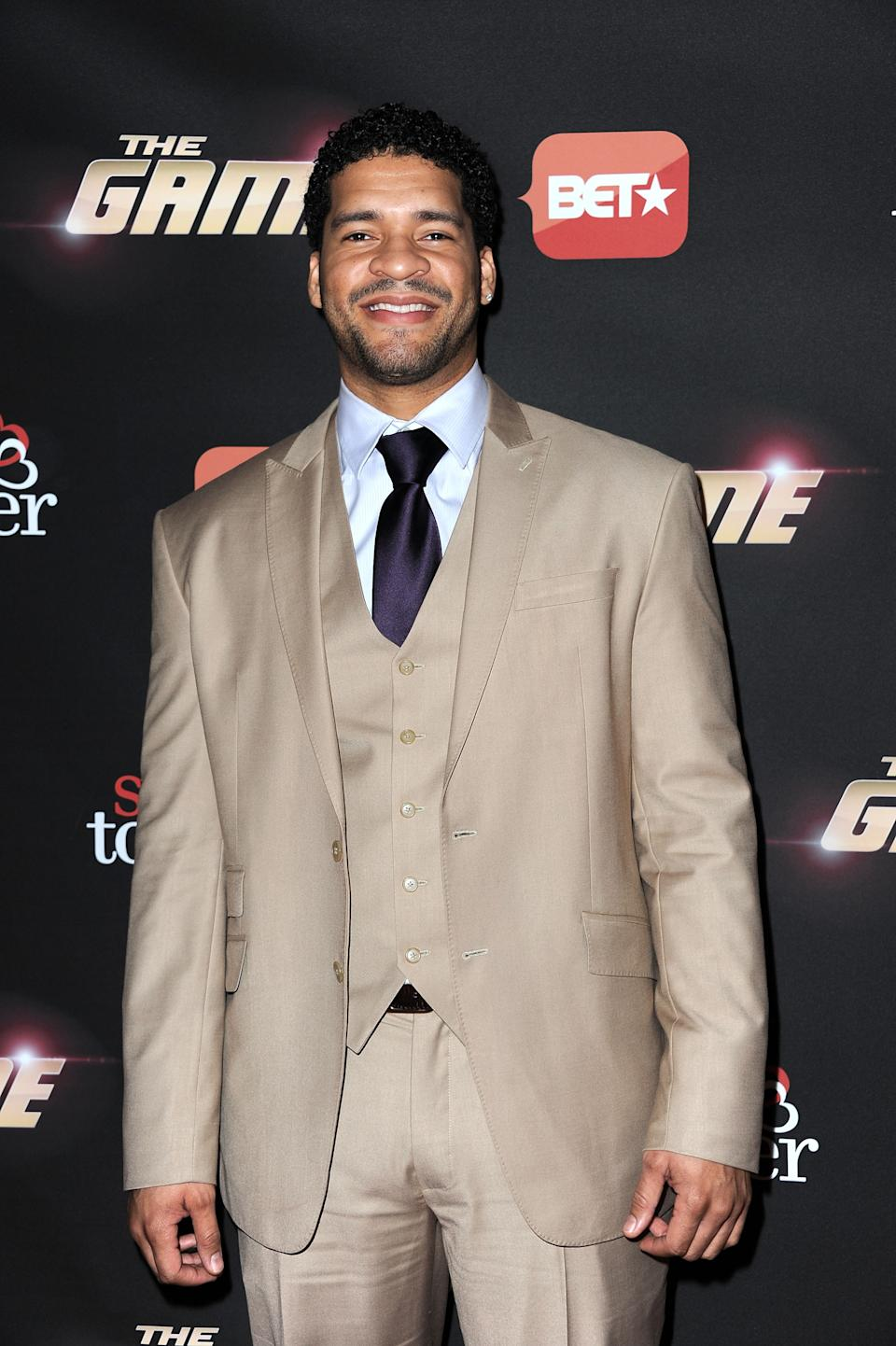 """Actor Bert Belasco arrives at the BET's """"The Game"""" And """"Let's Stay Together"""" series premiere at Hollywood Roosevelt Hotel on January 5, 2012 in Hollywood, California."""