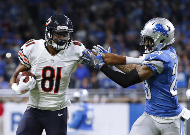 """Chicago's <a class=""""link rapid-noclick-resp"""" href=""""/nfl/players/28697/"""" data-ylk=""""slk:Cameron Meredith"""">Cameron Meredith</a> is one of our favorite WR targets after pick No. 60 overall. (AP)"""