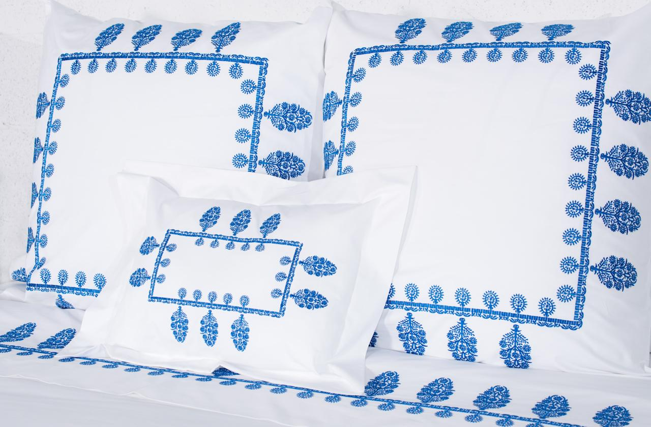 """There is nothing more luxurious than embroidered sheets, and the new Udaipur pattern by <a rel=""""nofollow"""" href=""""http://nibadesigns.com/index.php"""">Niba Designs</a> in this gorgeous blue colorway is perfect for summer!"""