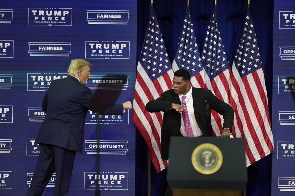 Former President Donald Trump elbow bumps with Herschel Walker during a campaign rally. (AP)