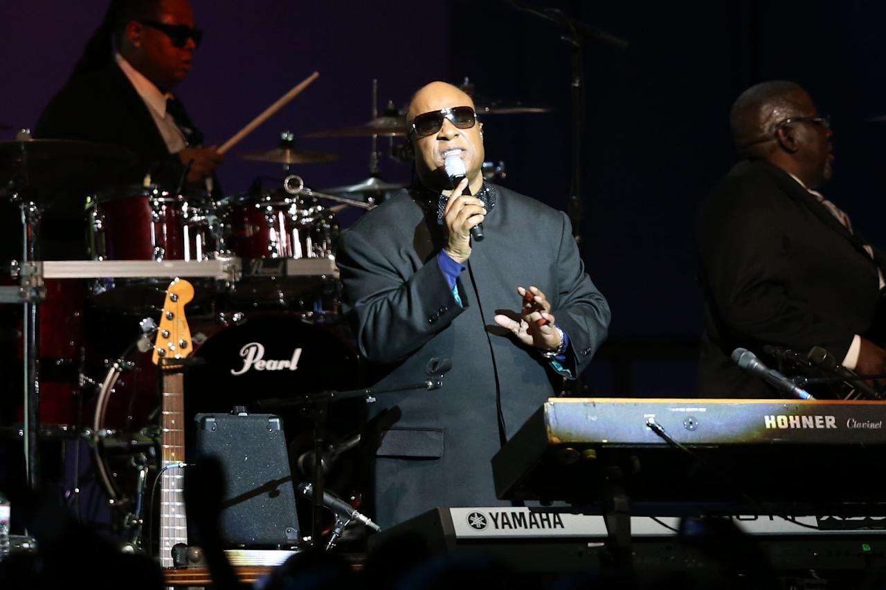 WASHINGTON, DC - JANUARY 21:  Singer Stevie Wonder performs during the Public Inaugural Ball at the Walter E. Washington Convention Center on January 21, 2013 in Washington, DC. U.S. President Barack Obama was sworn in for his second term earlier in the day.  (Photo by Mario Tama/Getty Images)