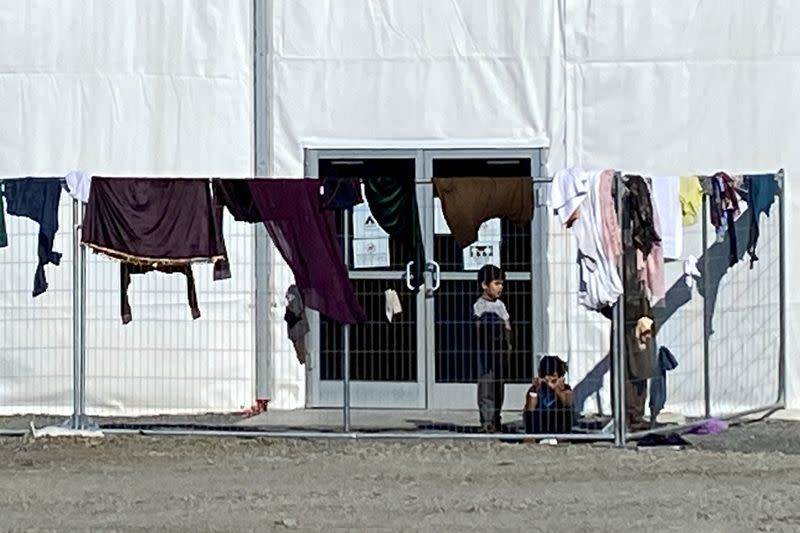 FILE PHOTO: A structure housing Afghan evacuees is seen at Joint Base McGuire-Dix-Lakehurst, New Jersey