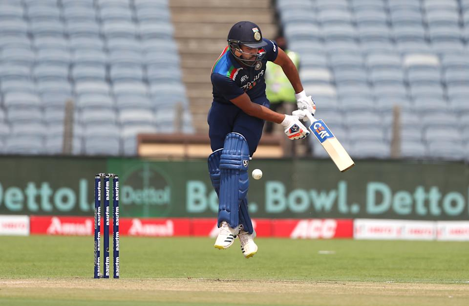 PUNE, INDIA - MARCH 26: India batsman Rohit Sharma in batting action during the 2nd One Day International between India and England at MCA Stadium on March 26, 2021 in Pune, India. (Photo by Surjeet Yadav/Getty Images)
