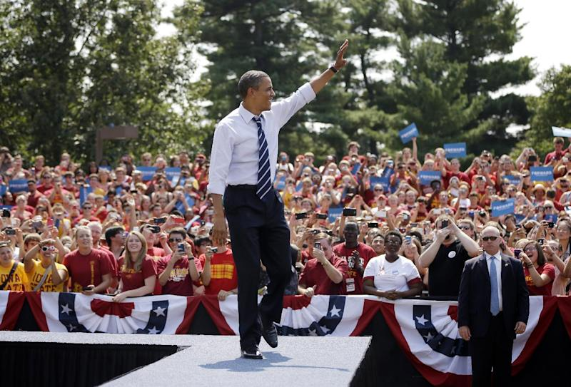 President Barack Obama waves as he is introduced during a campaign event at Iowa State University, Tuesday, Aug. 28, 2012, in Ames, Iowa. (AP Photo/Pablo Martinez Monsivais)