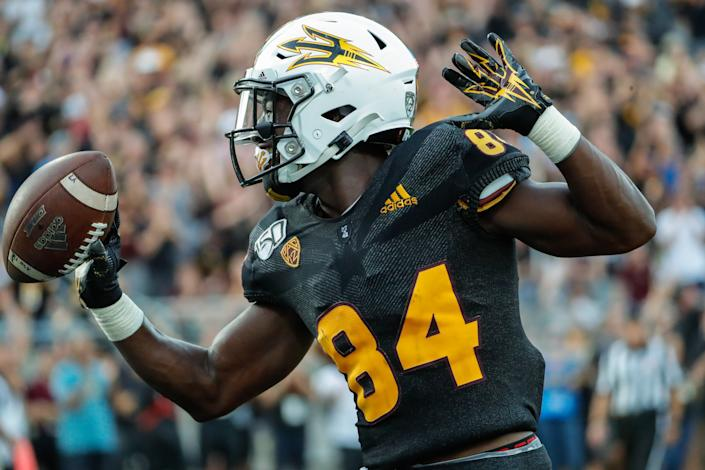 Arizona State WR Frank Darby could be the Sun Devils' next star at the position. (Photo by Kevin Abele/Icon Sportswire via Getty Images)