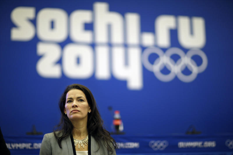 Former Olympic figure skater Nancy Kerrigan takes a question from the media after a screening of a new documentary about the 1994 attack on her which will air the day of the 2014 Winter Olympics closing ceremony, Friday, Feb. 21, 2014, in Sochi, Russia. Kerrigan has been reluctant to talk about rival Tony Harding's ex-husband hiring a hit squad to take her out before the 1994 Olympics in Lillehammer. She finally relented for a show that marks the 20-year anniversary of the incident, which thrust figure skating into the spotlight and spawned an international media frenzy. (AP Photo/David Goldman)