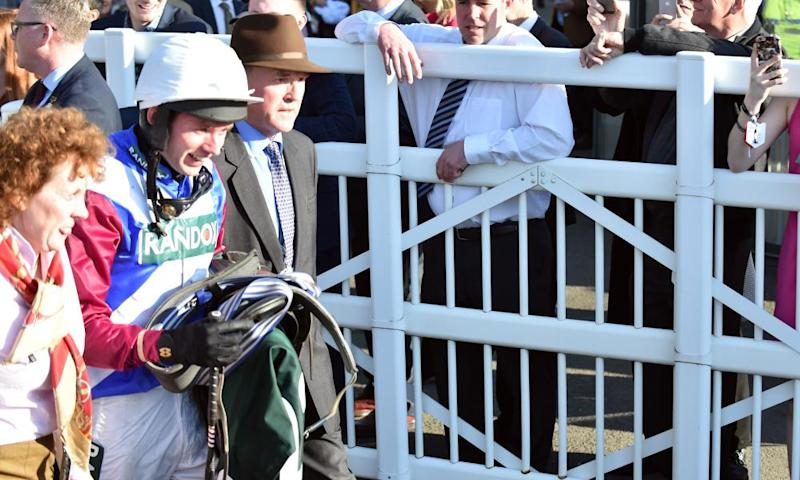 Derek Fox after the Grand National on Saturday. Why make the winning jockey tote his saddle back through the crowds?