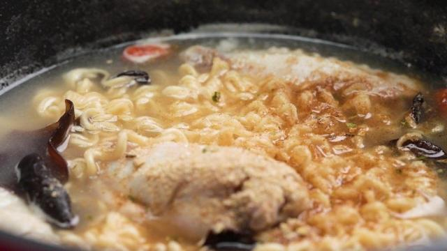 myojo Instant noodles with chicken wings, black fungus, and wolfberries