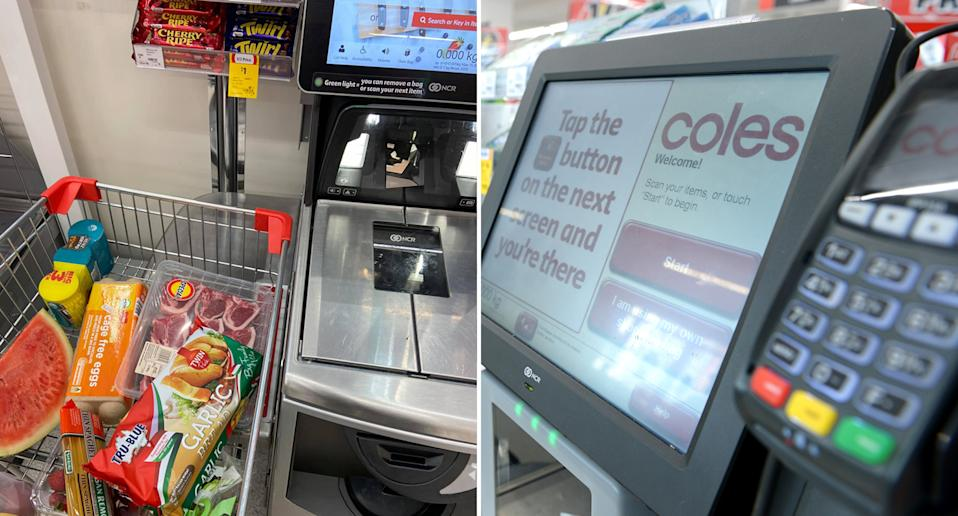 A Coles trolley sits over the shelf at the self-serve checkout.