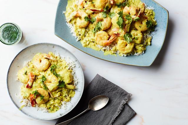 "<h1 class=""title"">Shrimp Poached in Coconut Milk with Fresh Herbs</h1> <cite class=""credit"">Photo by Chelsea Kyle, Prop Styling by Alex Brannian, Food Styling by Anna Hampton</cite>"