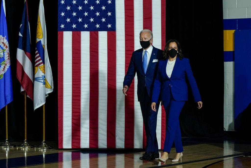 <p>Harris paired her simple ensemble with an important face mask - evidently making a statement - for her first official event as Biden's Democrat vice presidential running mate. </p>