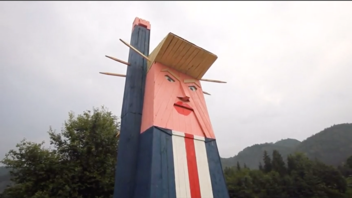A wooden structure appearing to mock President Donald Trump near Kamnik, Slovenia, was found burned to the ground in January. / Credit: Reuters