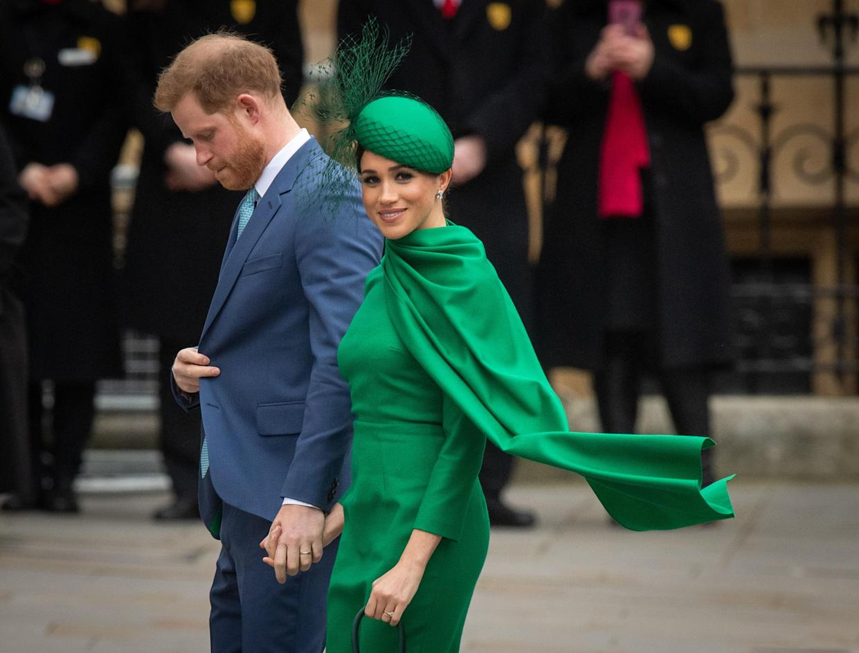 The Duke and Duchess of Sussex arrive at the Commonwealth Service at Westminster Abbey, London on Commonwealth Day. The service is their final official engagement before they quit royal life. PA Photo. Picture date: Monday March 9, 2020. See PA story ROYAL Commonwealth. Photo credit should read: Dominic Lipinski/PA Wire (Photo by Dominic Lipinski/PA Images via Getty Images)
