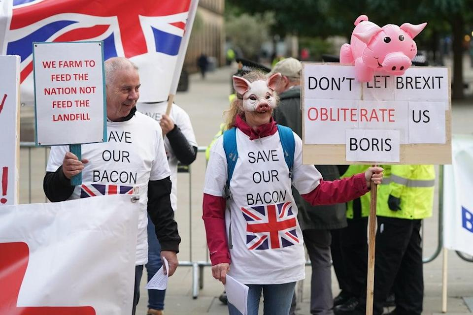 Pig farmers protest outside the Conservative Party conference in Manchester (Stefan Rousseau/PA) (PA Wire)