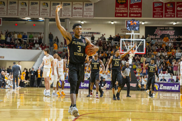 Florida State guard Trent Forrest (3) encourages the fans to cheer with five seconds left in the second half of an NCAA college basketball game against Tennessee at the Emerald Coast Classic in Niceville, Fla., Friday, Nov. 29, 2019. (AP Photo/Mark Wallheiser)