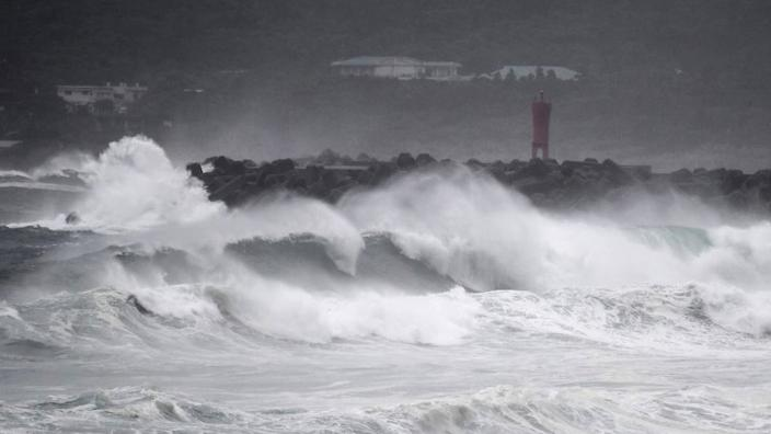 Waves crash on the coast as Typhoon Haishen approaches the Japanese prefecture of Kagoshima