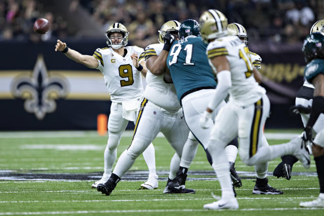 Fletcher Cox (91) and the Eagles are hoping for a remarkable turnaround compared to their last trip to New Orleans against Drew Brees and the Saints. (Getty Images)