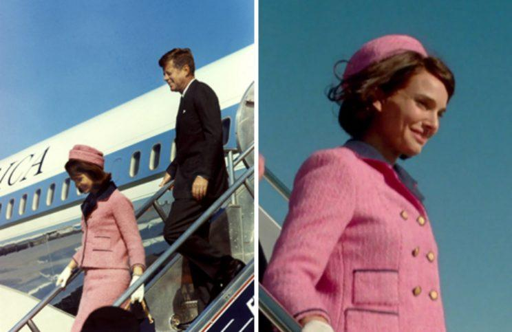 Jacqueline Kennedy wearing the suit herself. (Photo: Gtresonline/LD Entertainment/Fabula/Protozoa Pictures)