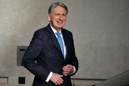 Britain's Chancellor of the Exchequer Philip Hammond arrives at the BBC in London