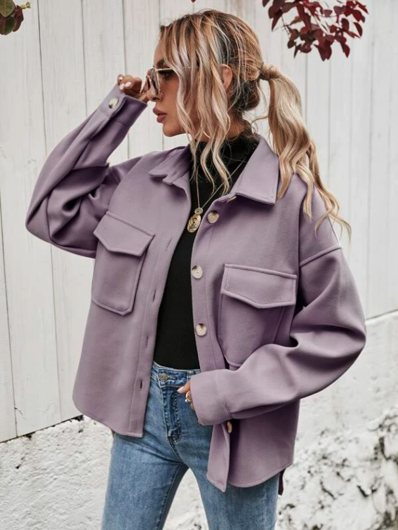 Flap Pocket High Low Hem Coat. Image via SHEIN.