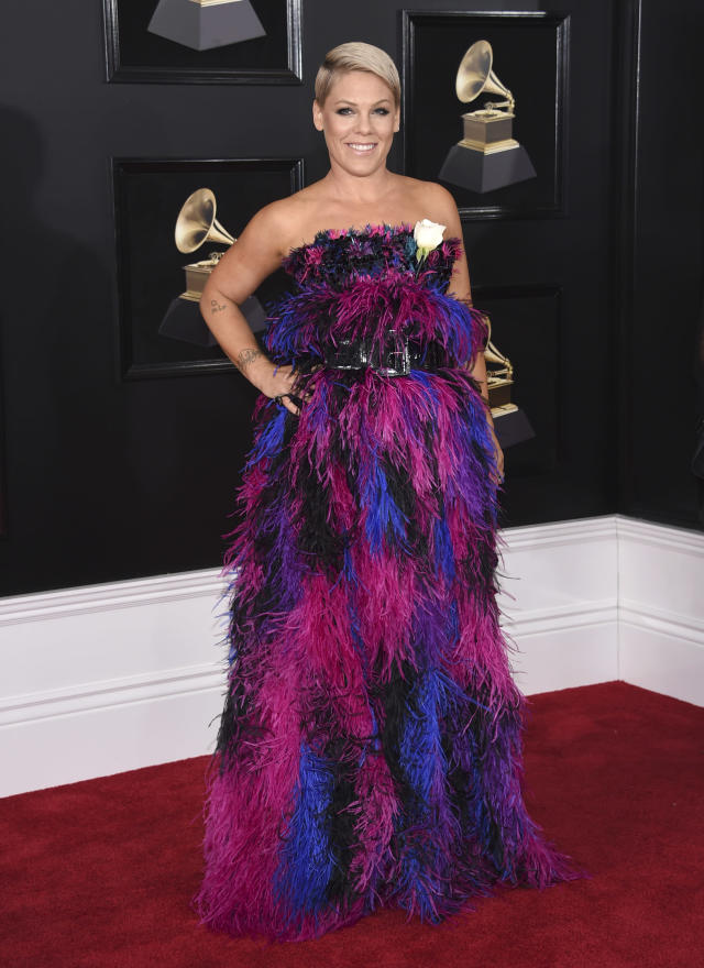 Pink arrives at the Grammy Awards on Jan. 28, 2018, in New York. (Photo by Evan Agostini/Invision/AP)