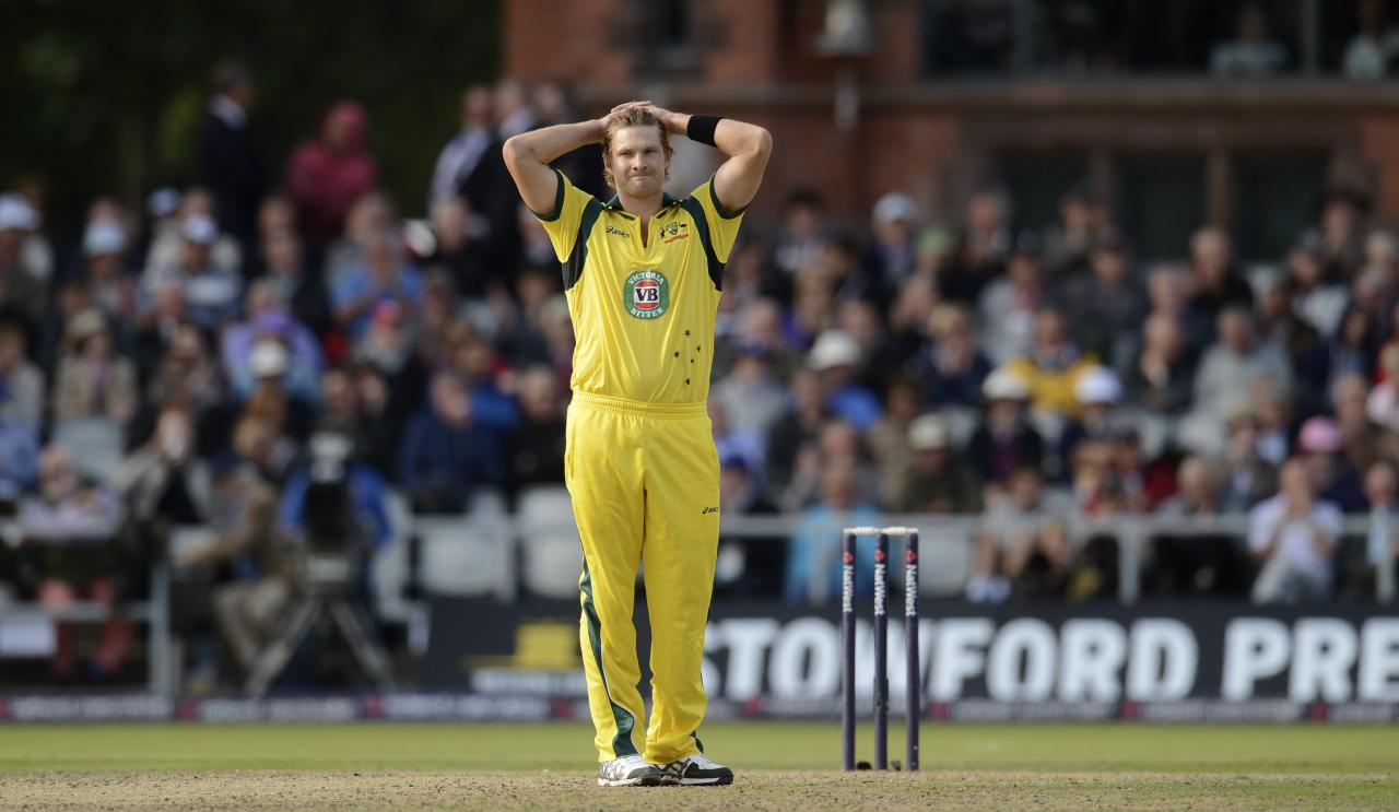Australia's Shane Watson looks on during the second one-day international against England at Old Trafford cricket ground in Manchester September 8, 2013. REUTERS/Philip Brown (BRITAIN - Tags: SPORT CRICKET)