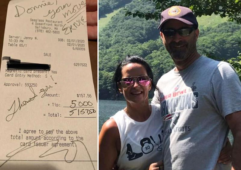 Jennifer Navaria is pictured with a man. Also pictured is a tip she received for US$5000.