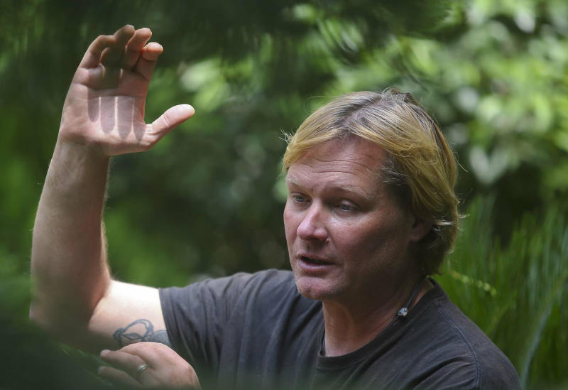 Prof. John All of Western Washington University, gestures as he speaks with the Associated Press in Kathmandu, Nepal, Tuesday, June 4, 2019. The U.S. scientist says Mount Everest and its surrounding peaks are increasingly polluted and warmer, and nearby glaciers are melting at an alarming rate that is likely make it dangerous for future climbers. (AP Photo/Bikram Rai)