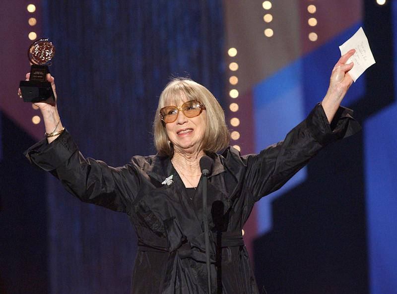 File-This June 2, 2002 file photo shows Julie Harris celebrating her special Tony Award for Lifetime Achievement in the Theatre during the 56th annual Tony Awards at New York's Radio City Music Hall. Harris, who won an unprecedented five Tony Awards for best actress, has died. She was 87. Actress and family friend Francesca James says Harris died Saturday Aug. 24, 2013 at her home in West Chatham, Mass. She had previously suffered two strokes. (AP Photo/Suzanne Plunkett, File)