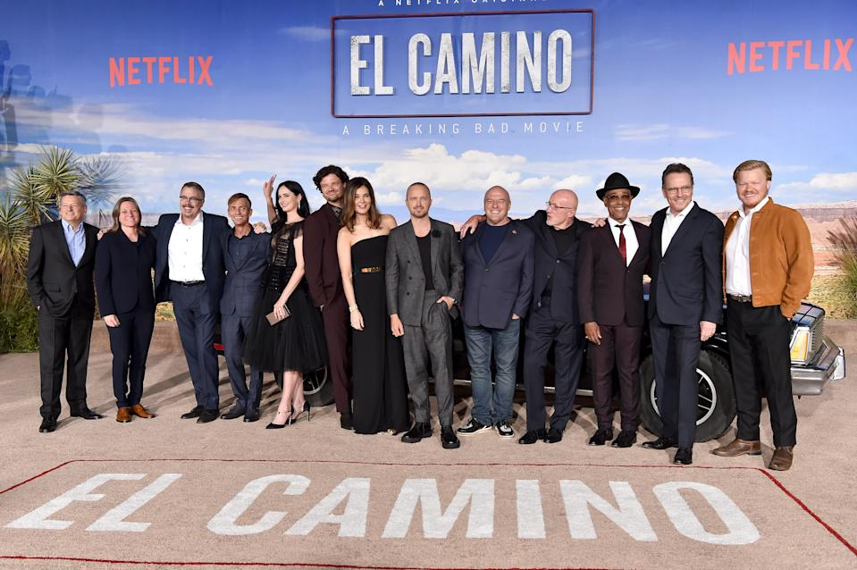 "The ""El Camino: A Breaking Bad Movie"" cast and crew celebrate the film premiere at Regency Village Theatre on October 07, 2019 in Westwood, California."