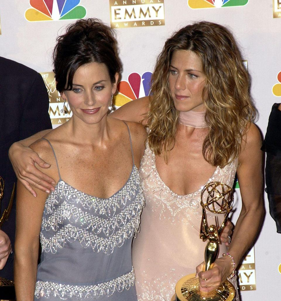 """<p>In 2002, Aniston won an <a href=""""https://www.imdb.com/name/nm0000098/awards"""" rel=""""nofollow noopener"""" target=""""_blank"""" data-ylk=""""slk:Emmy"""" class=""""link rapid-noclick-resp"""">Emmy</a> for her performance as Rachel Green on <em>Friends</em>. She'd have to wait until 2007 for her second statuette, which came via a guest spot on <em>30 Rock</em>.</p>"""