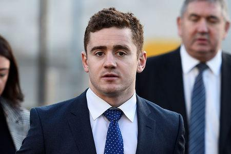 FILE PHOTO - Ulster and Ireland rugby player Paddy Jackson arrives at Laganside Court in Belfast, Northern Ireland, January 29, 2018. REUTERS/Clodagh Kilcoyne/File Photo
