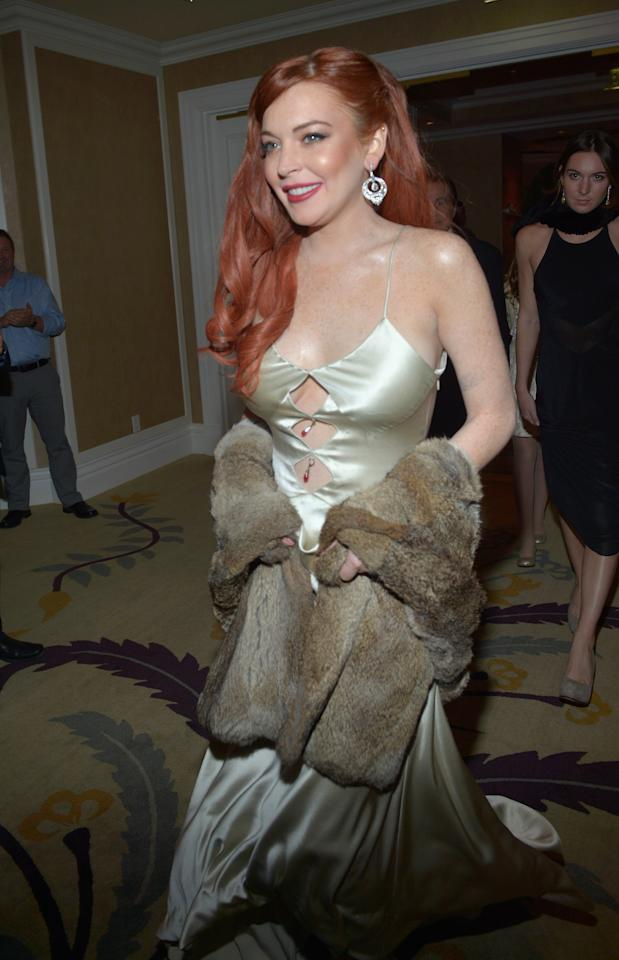 "BEVERLY HILLS, CA - NOVEMBER 20:  Actress Lindsay Lohan attends a private dinner for the Lifetime premier of ""Liz & Dick"" at Beverly Hills Hotel on November 20, 2012 in Beverly Hills, California.  (Photo by Charley Gallay/Getty Images for A&E Networks)"